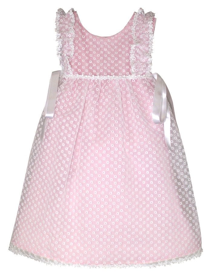 Girly Eyelet Organza Flowers Baby Dress