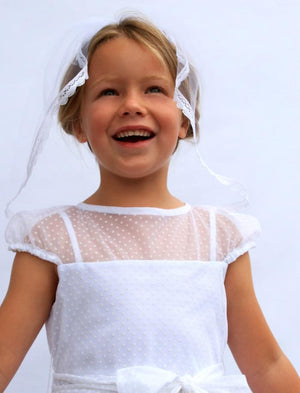 Legend Swiss Dot Tulle Reveal Top Girls Dress with Big Bow