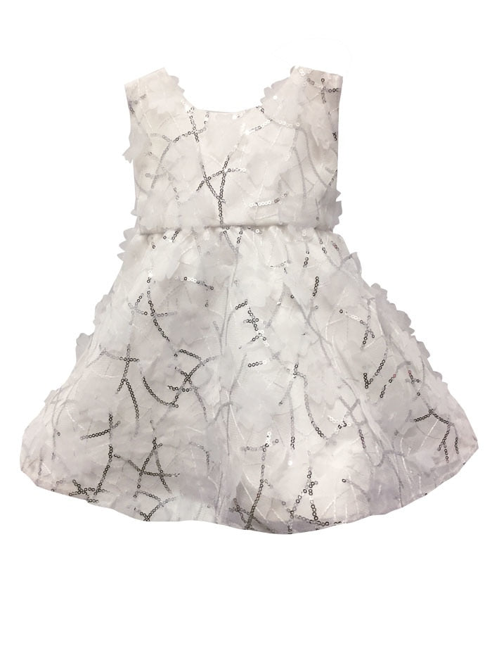 Sequins and Floral Organza Wide Skirt Girls Dress