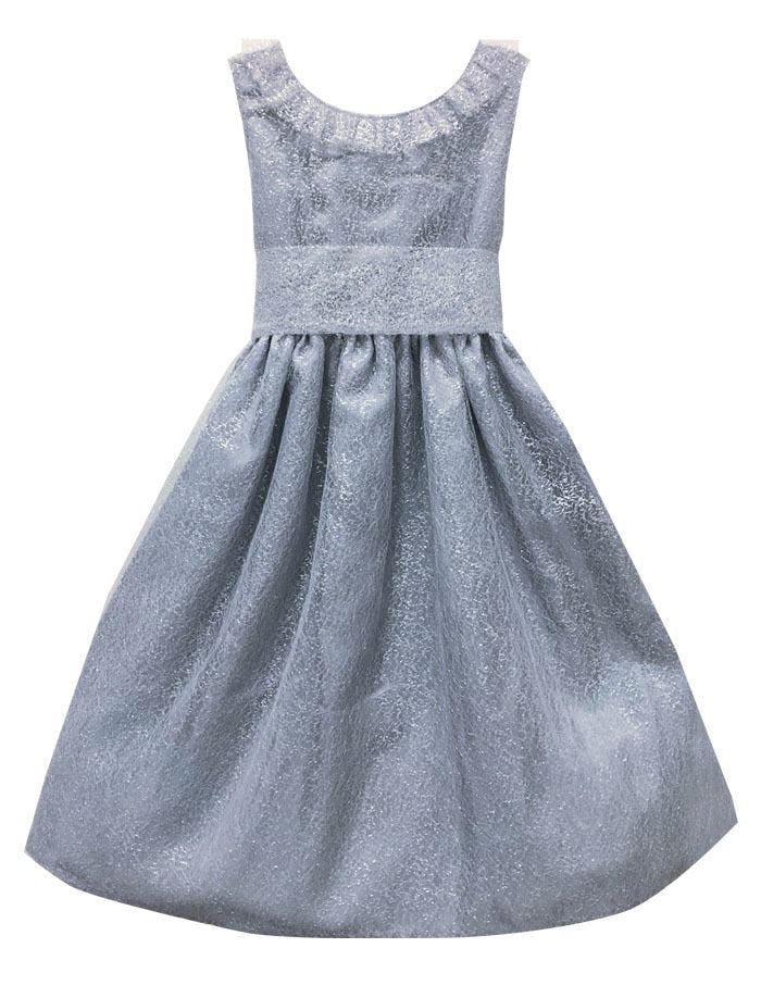 Soft Silver Mesh Big Bow Baby Holiday Party Dress