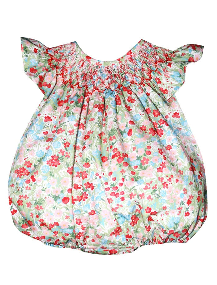 Cotton Floral Hand Smocked Bubble