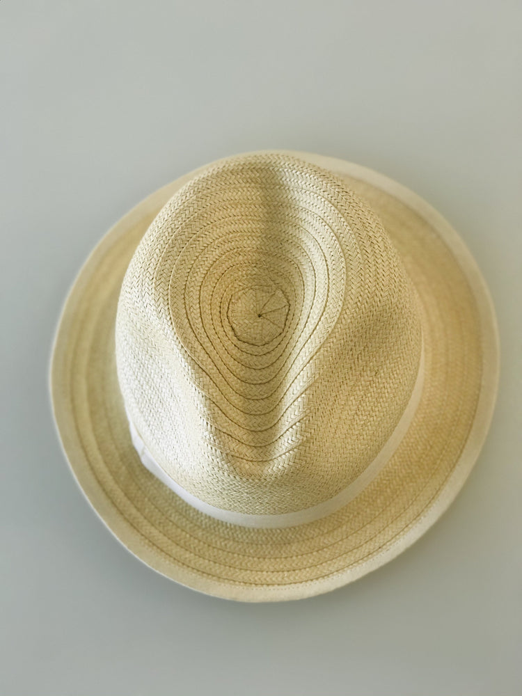 Boys Palm Hat with Fine Weave - White Ribbon