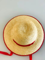 Girls Straw Hat Wide Weave - Red Ribbon & Trim