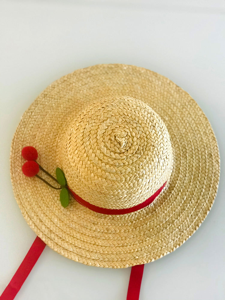 Girls Straw Hat Wide Weave - Red Ribbon & Cherry