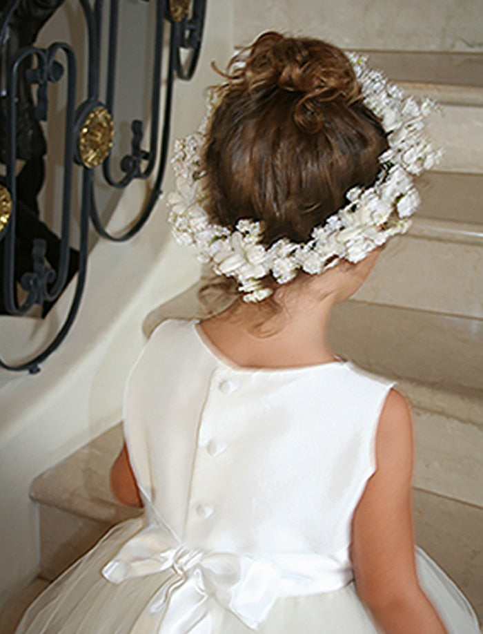 Girls Floral Halo Ivory