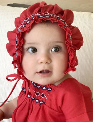 Hand Smocked & Hand Embroidered Cotton Bonnet