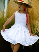 Loops Embroidered Floral Cotton Eyelet Below Knee Girls Dress