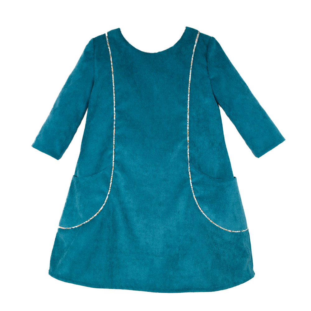 3/4 Sleeve Corduroy Pockets Girls Dress with Piping