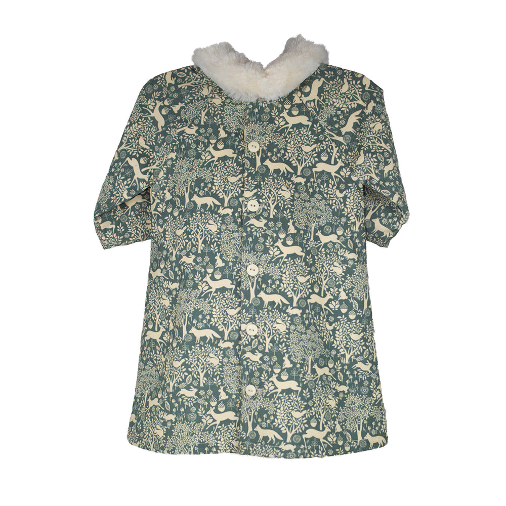 3/4 Sleeve Corduroy Forest Girls Dress with Faux Fur Collar
