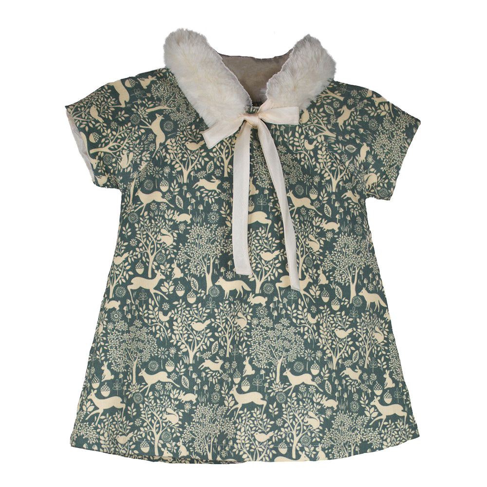 Cap Sleeve Corduroy Forest Baby Dress with Faux Fur Collar