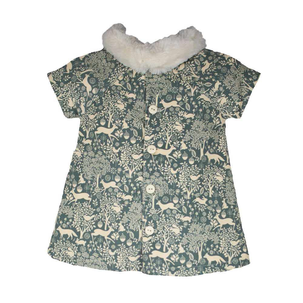 Cap Sleeve Corduroy Forest Girls Dress with Faux Fur Collar