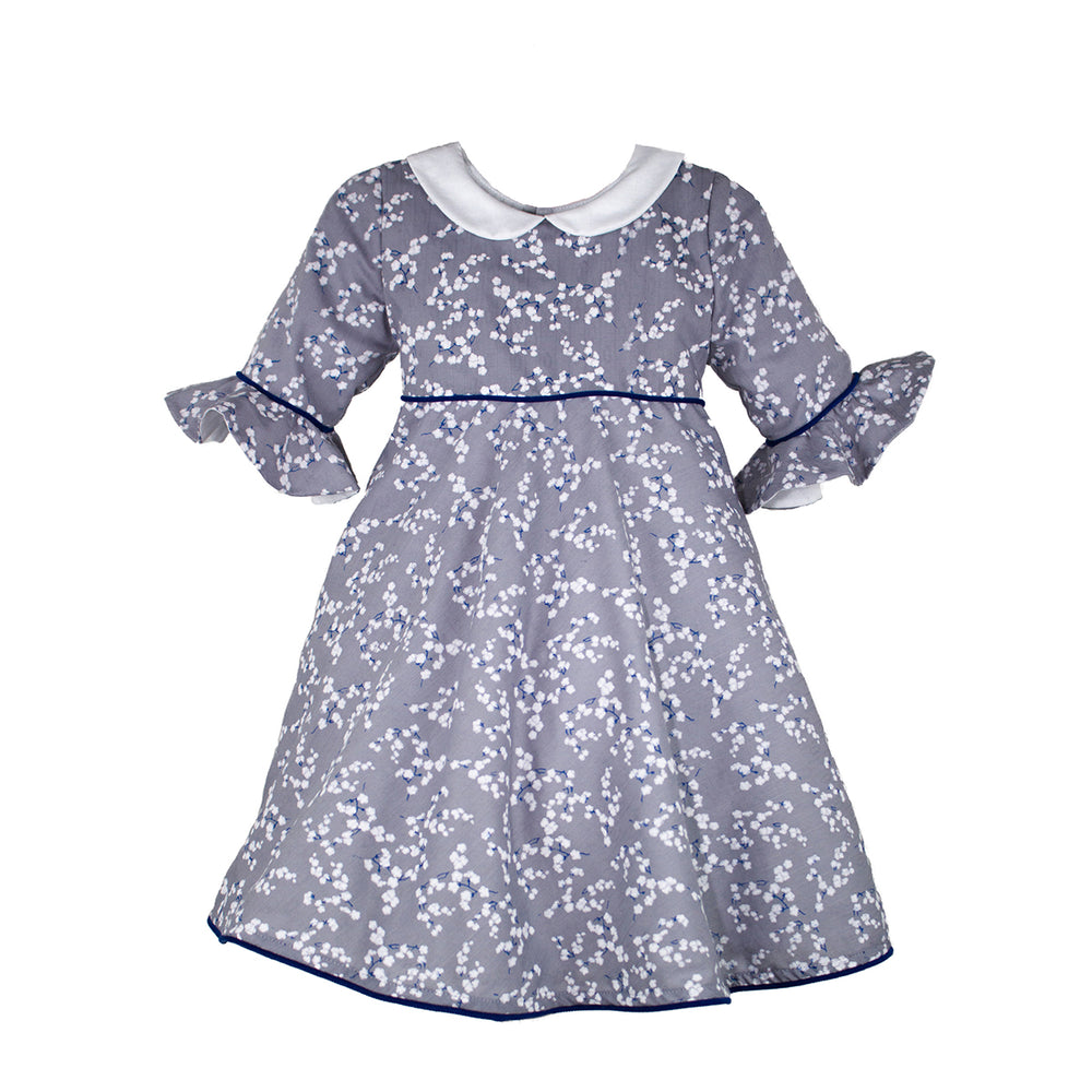 Snowflake Floral Mid-Calf Girls Dress