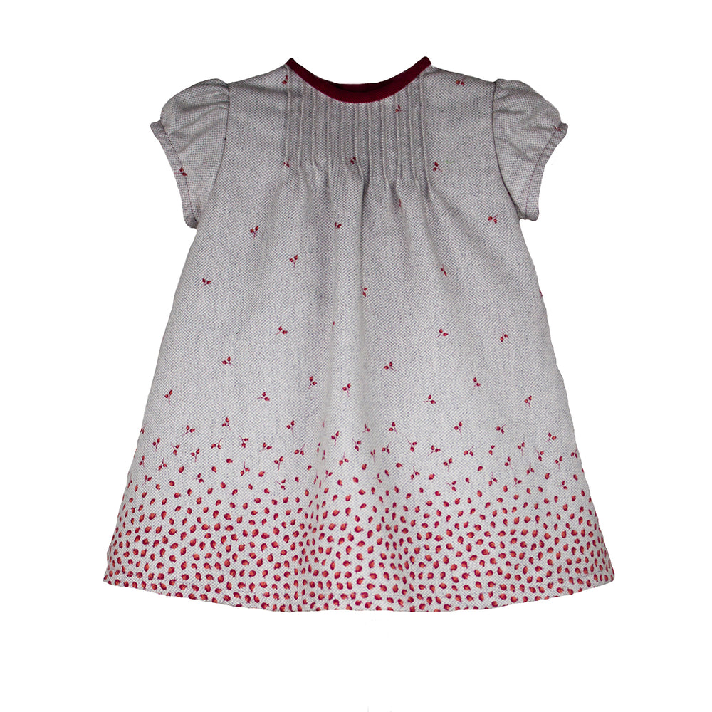 Short Sleeve Rosebud Knit Girls Dress
