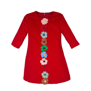 3/4 Sleeve Red Corduroy Girls Dress with Flowers