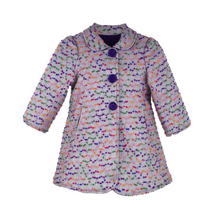 Milan Coat In Confetti Dot Grey Lined Plum