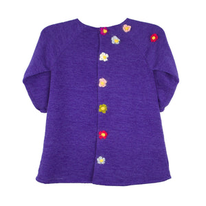 3/4 Sleeve Plum Knit A-Line Baby Dress with Flowers