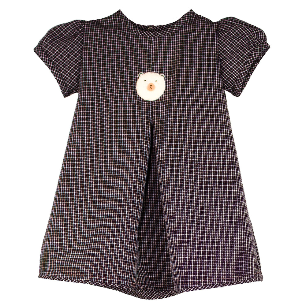 Short Sleeve Chocolate Grid Felt Bears Girls Dress