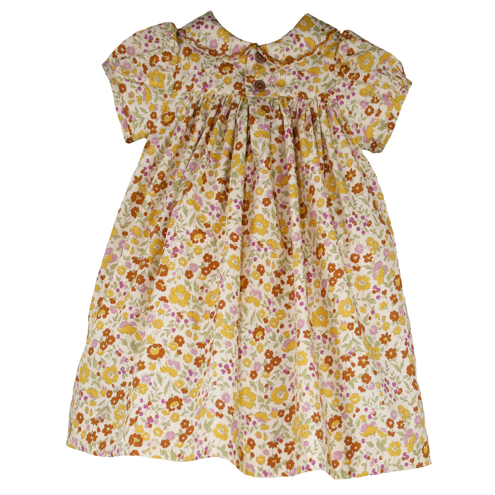 Short Sleeve Hand Smocked Fall Floral Toddler Dress