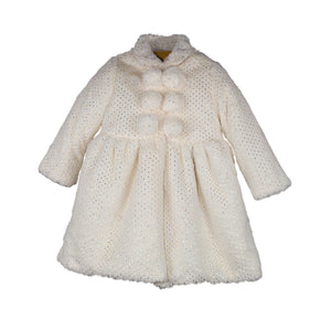 Gold Foil Faux Fur Baby Coat & Bonnet