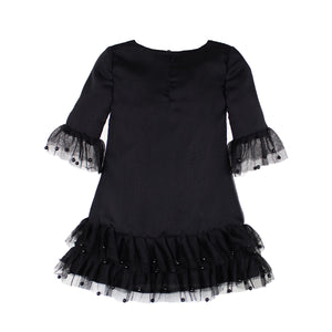 Half Sleeve Black Chiffon Ruffle & Pearl Girls Dresses
