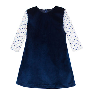 3/4 Sleeve Striped Organza Reveal Sleeve Navy Velvet Girls Dress