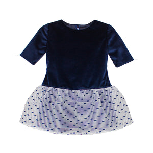 Half Sleeve Striped Organza Ruffle Hem Navy Velvet Dropwaist Baby Dress
