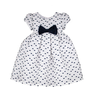 Short Sleeve Mid-Calf Striped Organza Girls Dress with Navy Bows