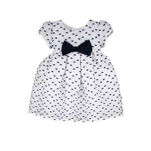 Short Sleeve Below Knee Striped Organza Girls Dress with Navy Bows