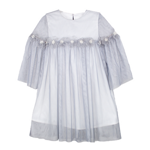 3/4 Sleeve Gathered Soft Mesh Girls Dress with Soft Flowers