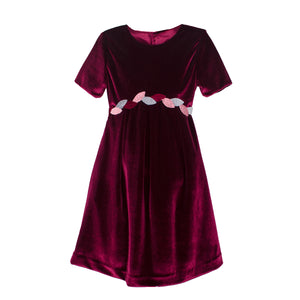 Cap Sleeve Velvet Girls Dress with Leaf Detailing