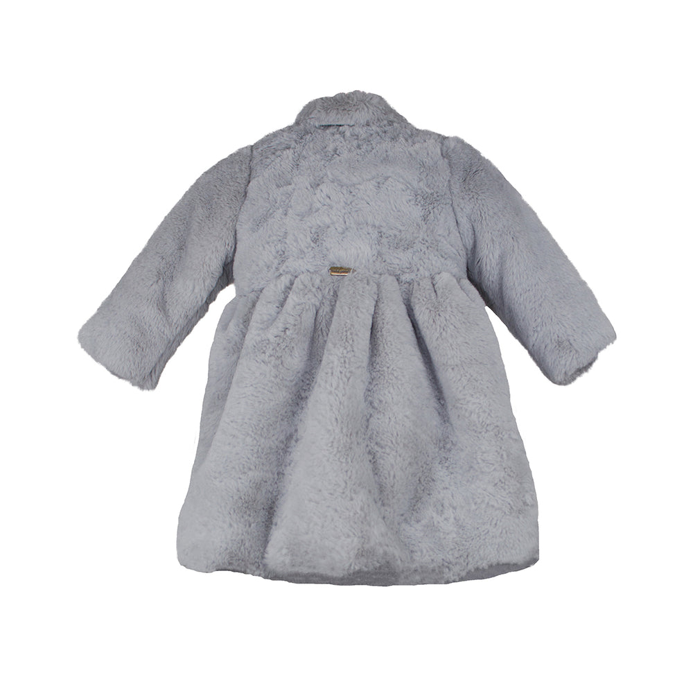 Silver Faux Fur Baby Coat & Bonnet