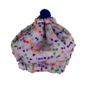 Girls Beanie In Confetti Dot Grey Lined Plum