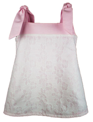 Pink Shoulder Tie Girls Sundress With White Lace