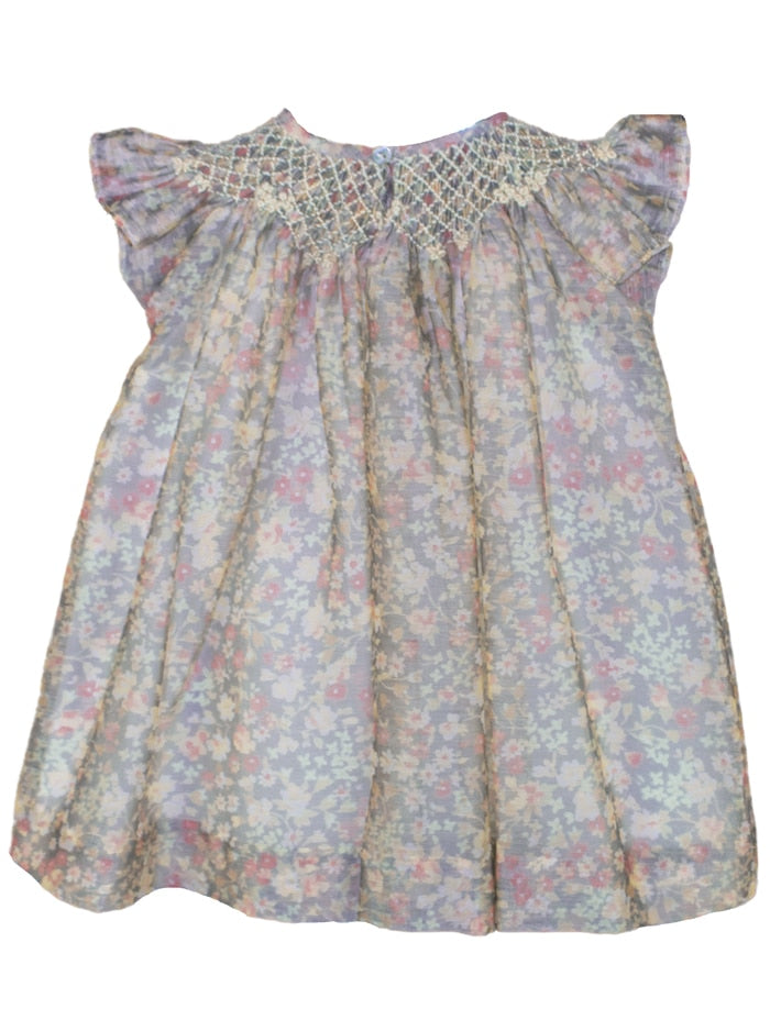 Smocked Organza Floral Baby Bishop