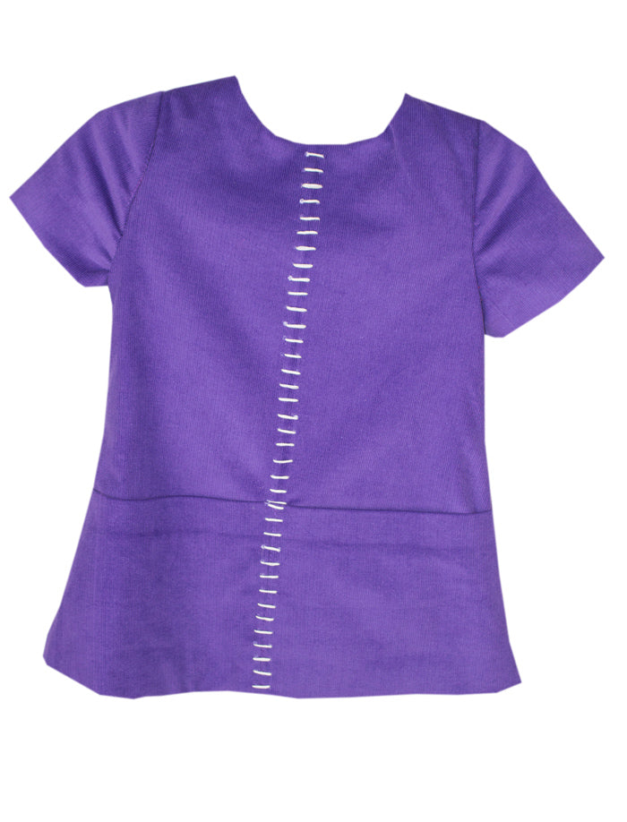 Cap Sleeve Hand Embroidered Plum Corduroy Girls Dress With Pockets