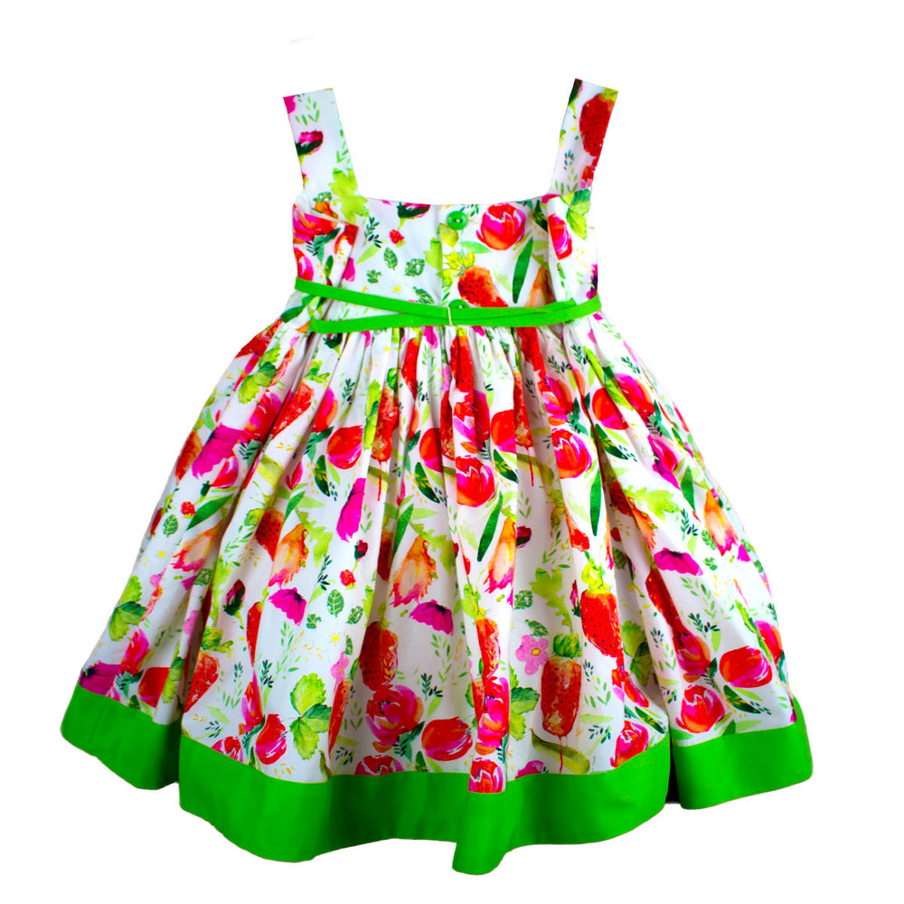 Strawberries Waisted Girls Dress Below Knee