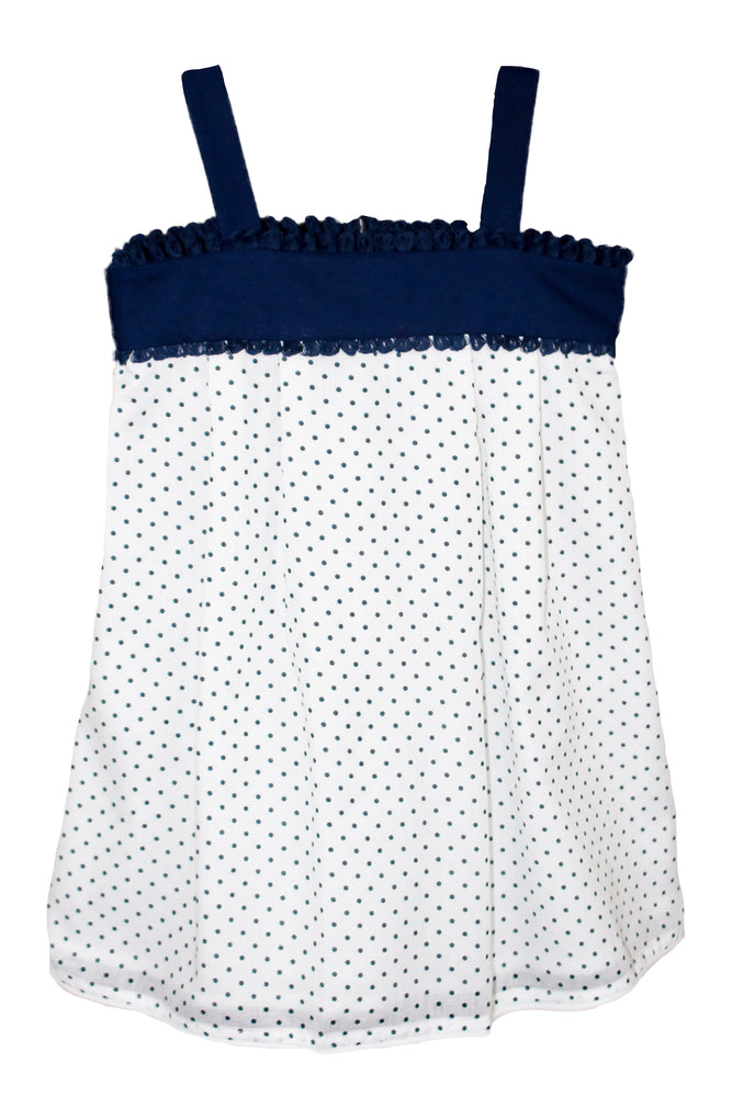 Cotton Navy Polka Dot Sun Dress