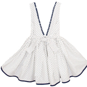 Cotton Polka Dot V-Back Below Knee Girls Dress