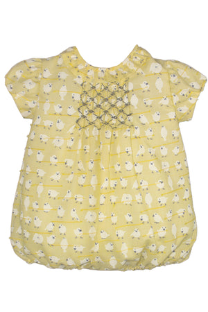 Short Sleeve Little Birds Smocked Bubble