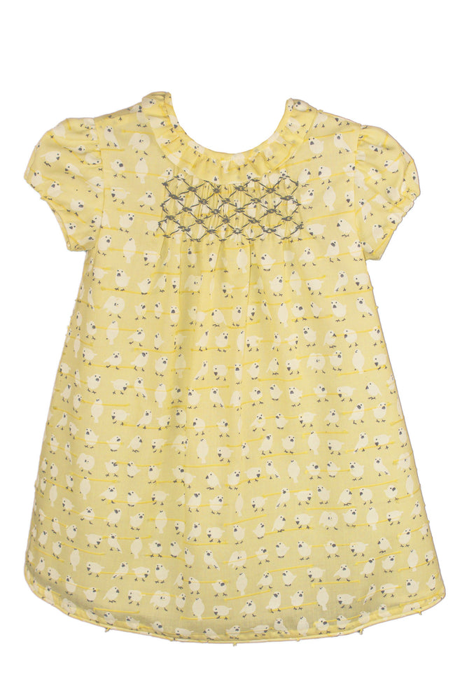 Short Sleeve Little Birds Smocked Baby Dress