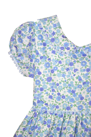 Short Sleeve Garden Floral Girls Dress Below Knee
