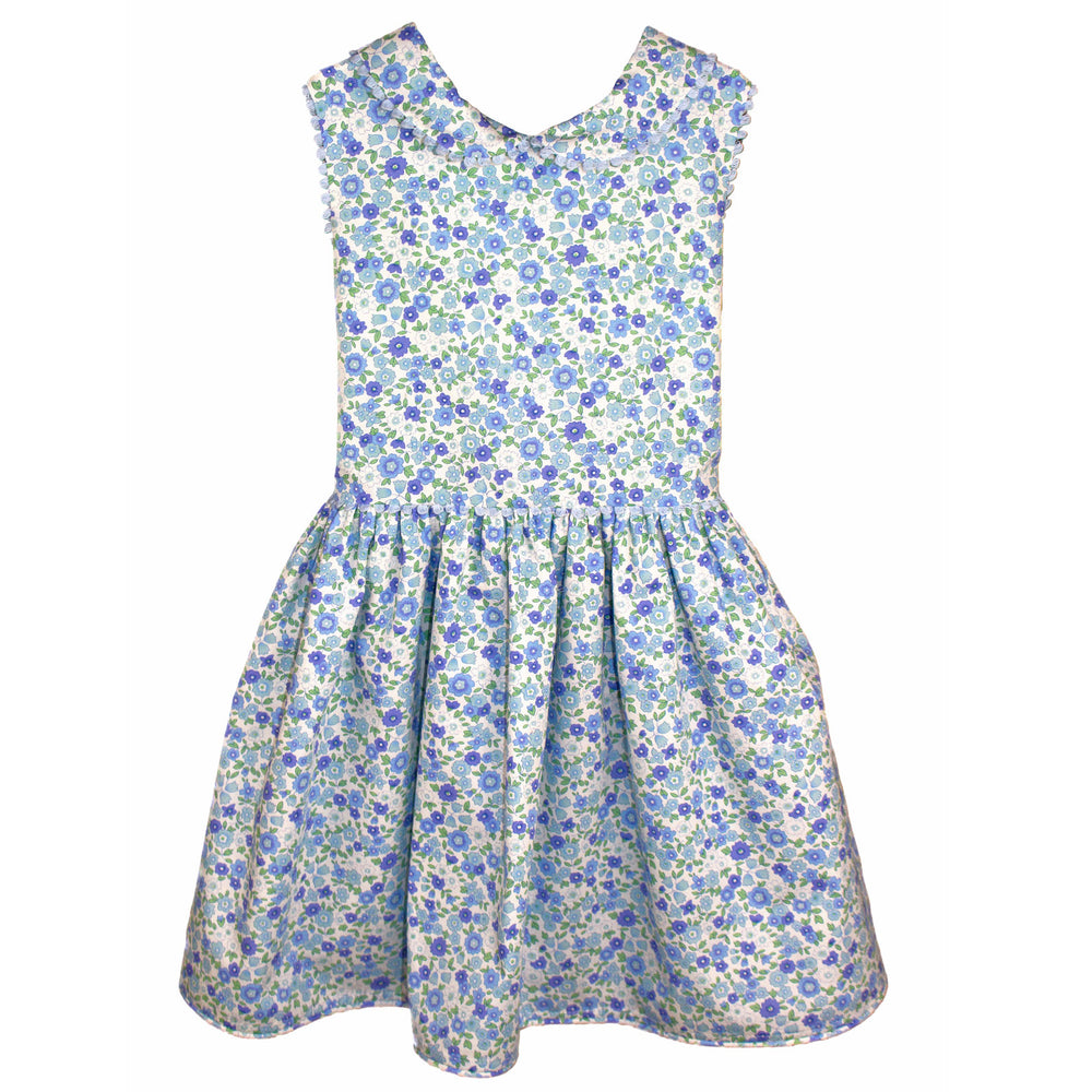 Garden Floral Baby Dress with Loop Trim