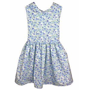 Garden Floral Girls Dress with Loop Trim - Below Knee