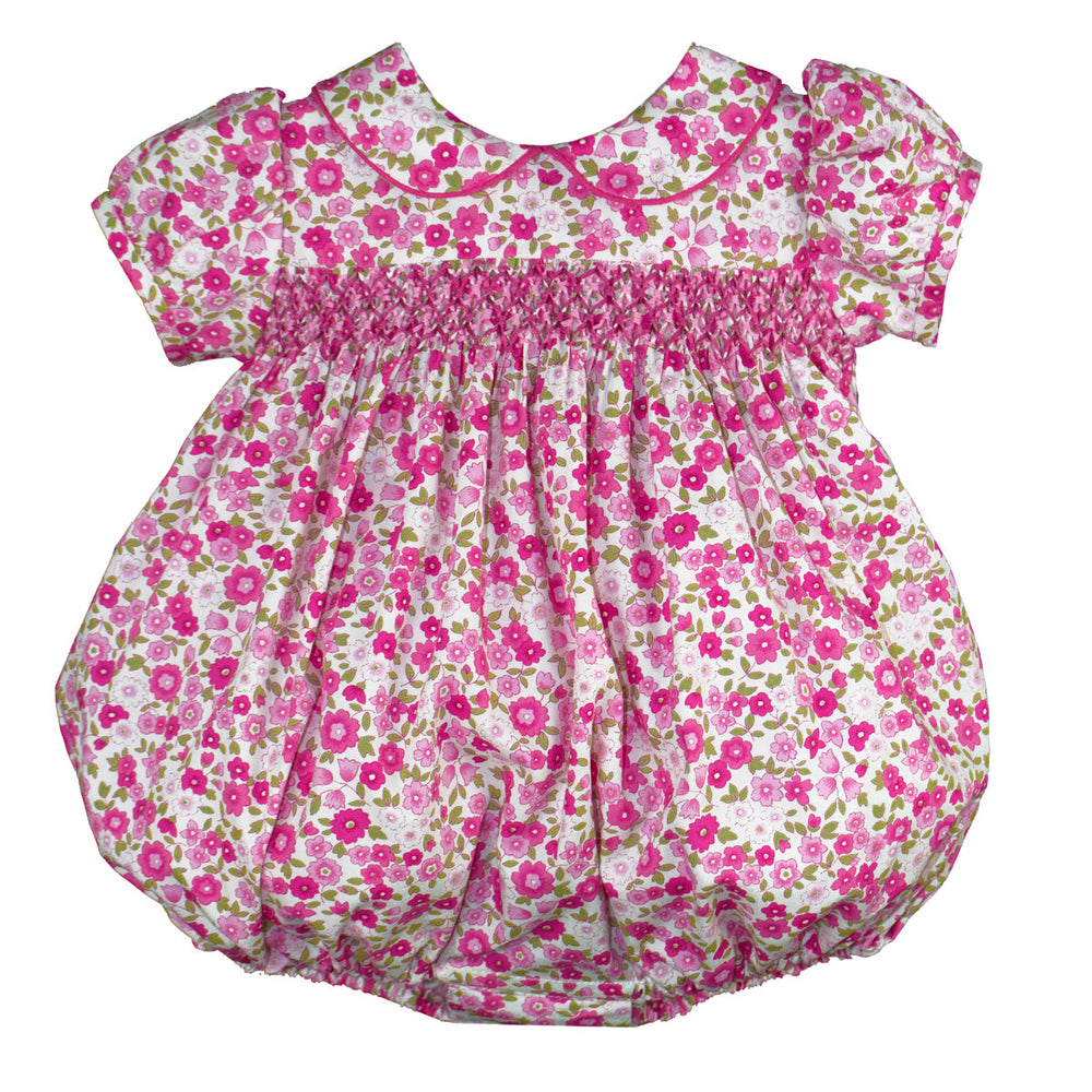 Short Sleeve Smocked Garden Floral Bubble
