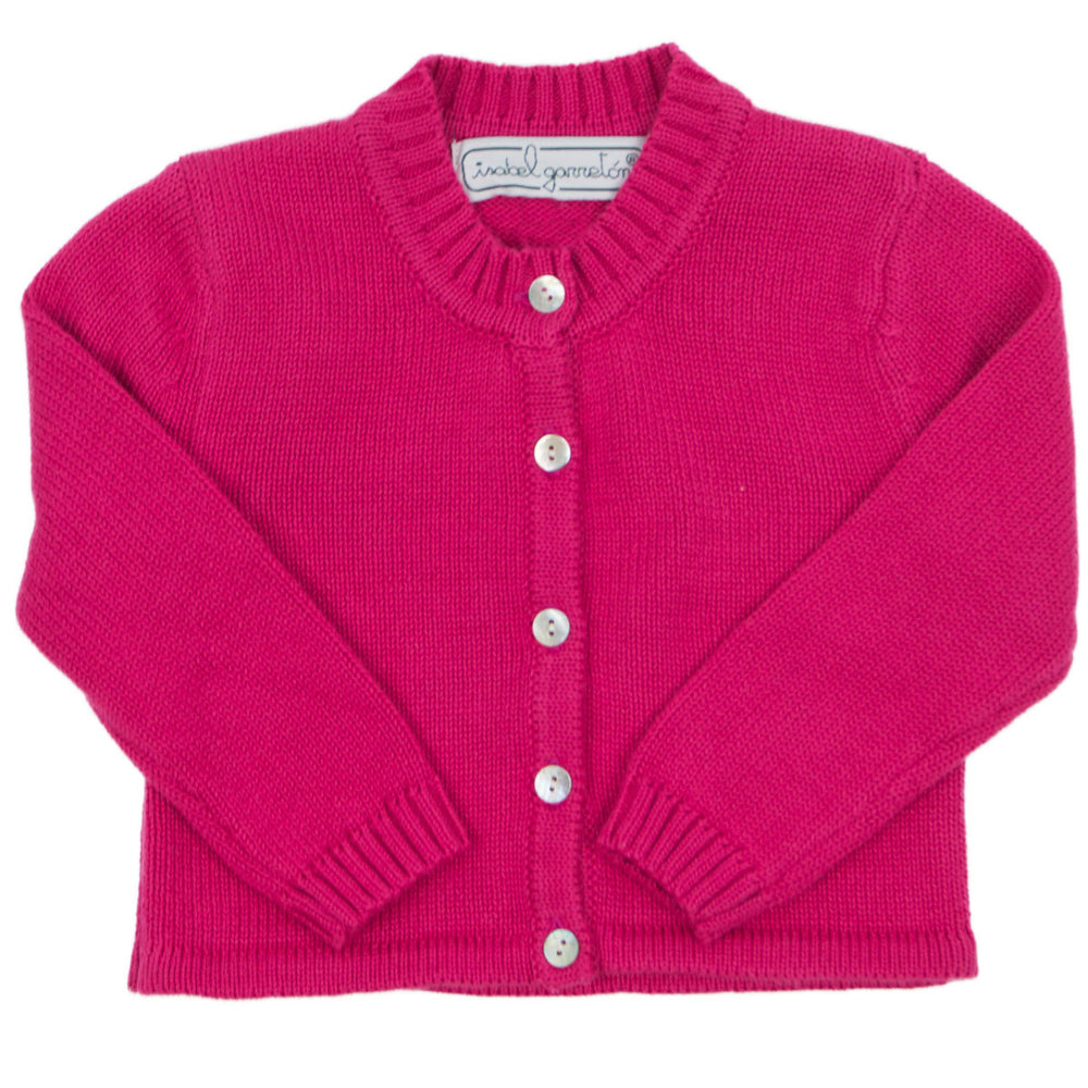 Fuchsia Cotton Knit Cardigan
