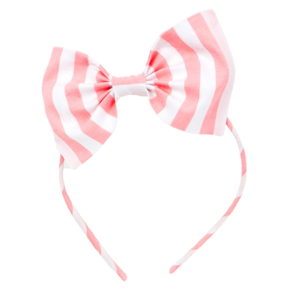 Coral Stripe Big Bow Headband
