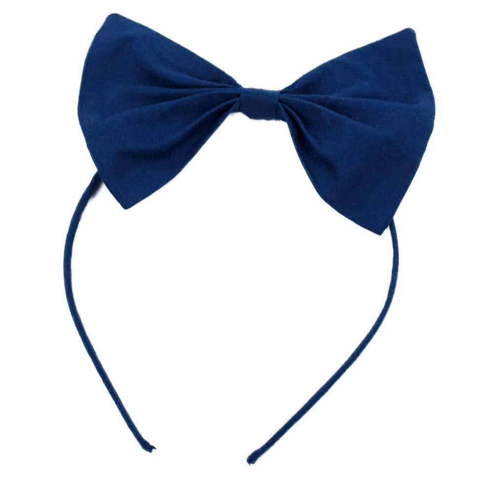 Navy Cotton Solid Big Bow Headband