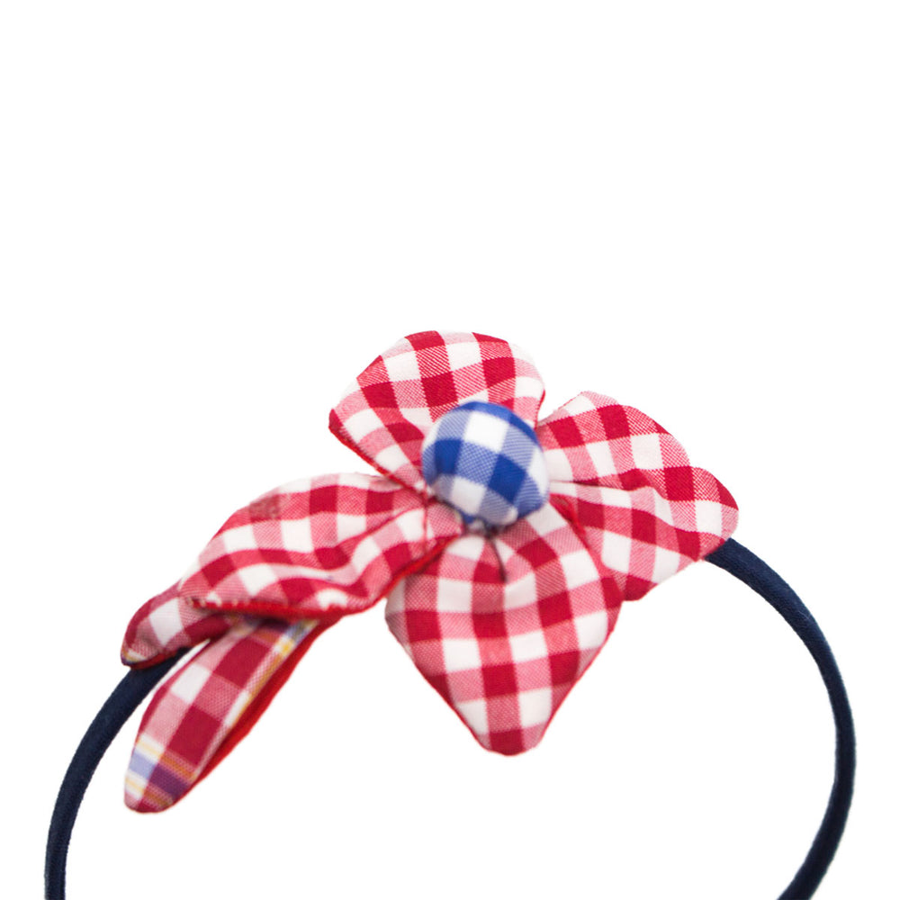 Cotton Headband with Gingham Flowers