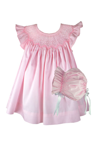 Smocked Bishop & Bonnet in Pink Cotton Pique