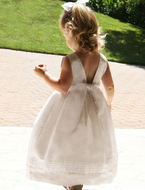 Melody Embroidered V-Back Girls Dress